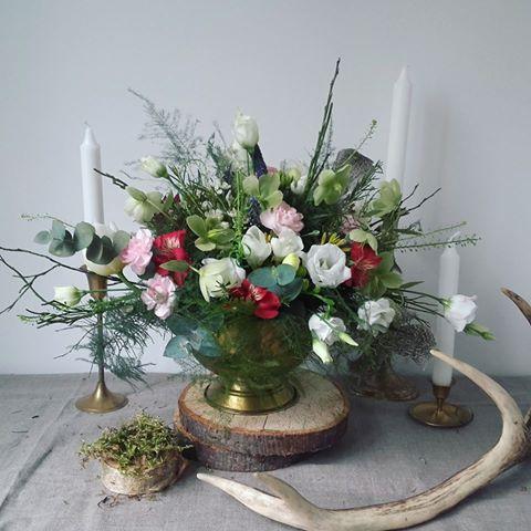 kompozycja rustykalna leśna na wesele z rogami