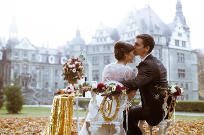 Fleurs de mariage à une session au château